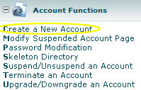 WHM - Account functions